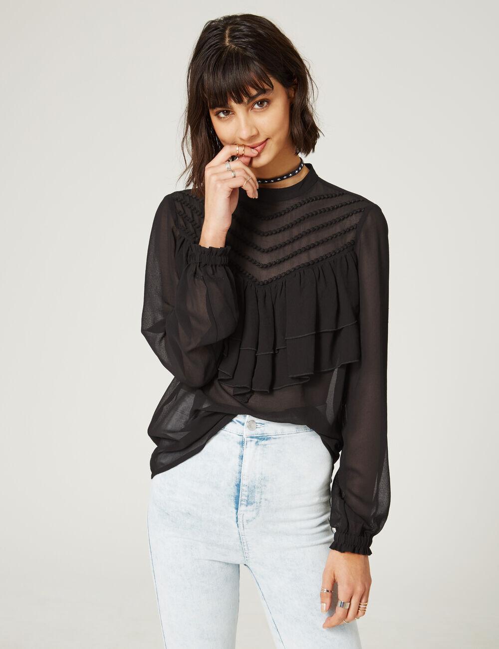 blouse tresses et volants noire