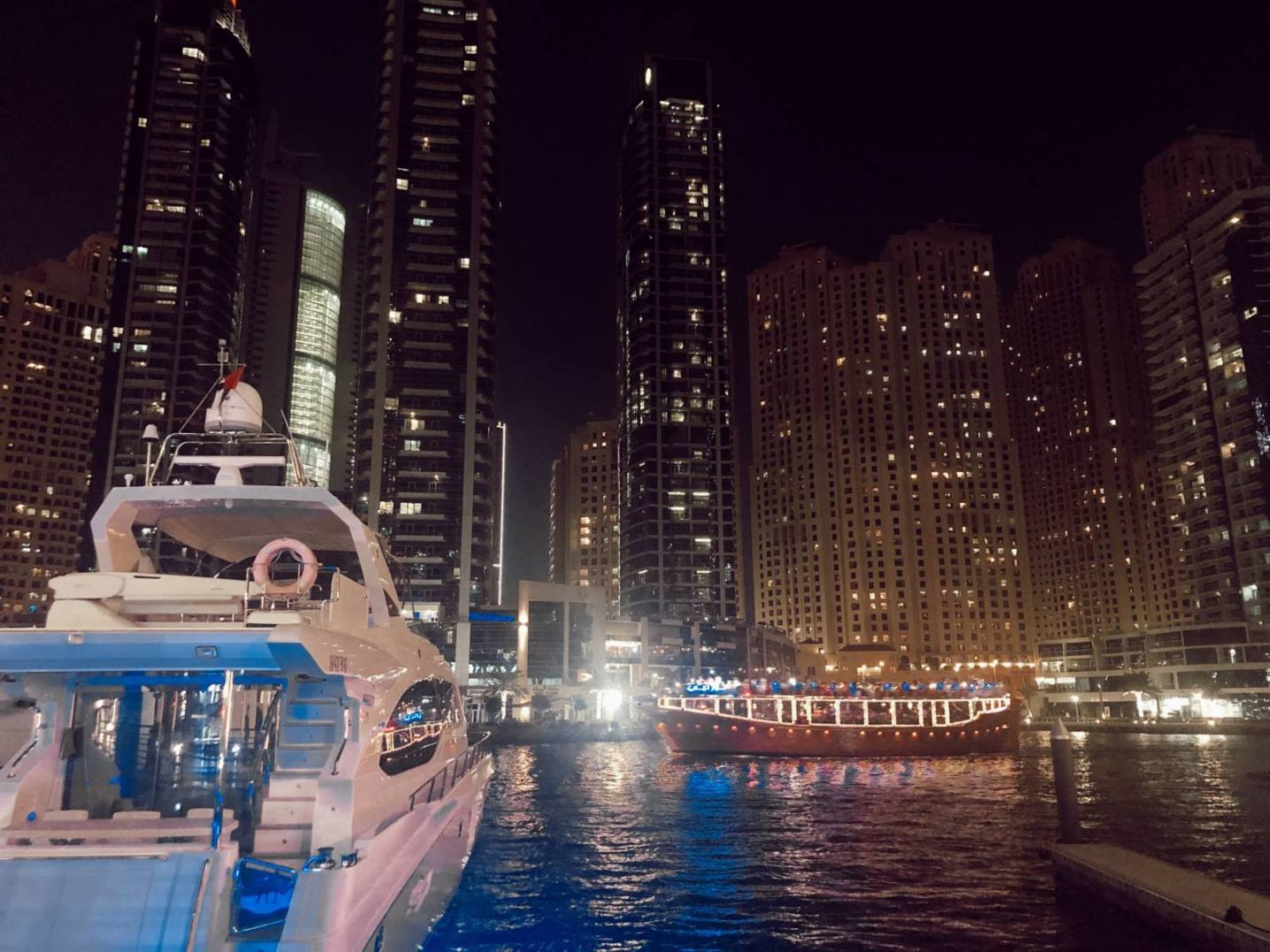 Dubai Marina by night.