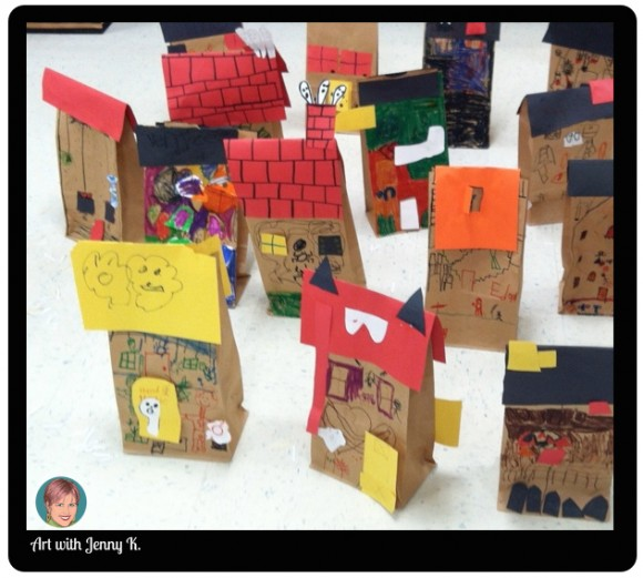 haunted house brown bags halloween