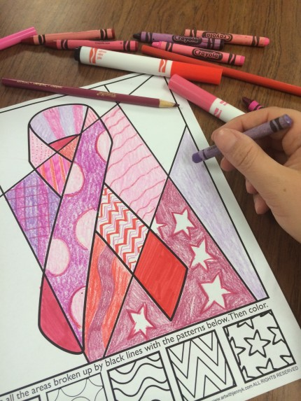 interactive coloring sheet breast cancer