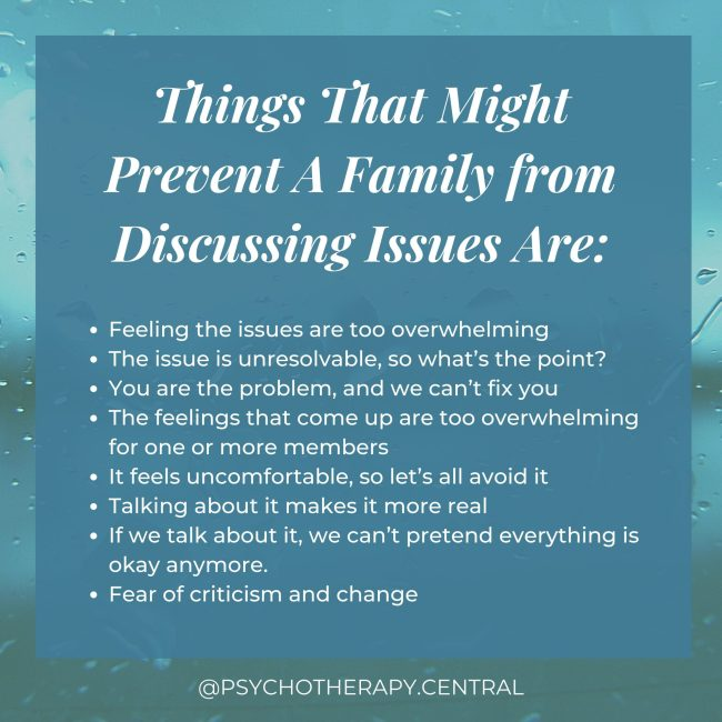 Things That Might Prevent A Family from Discussing Issues Ar