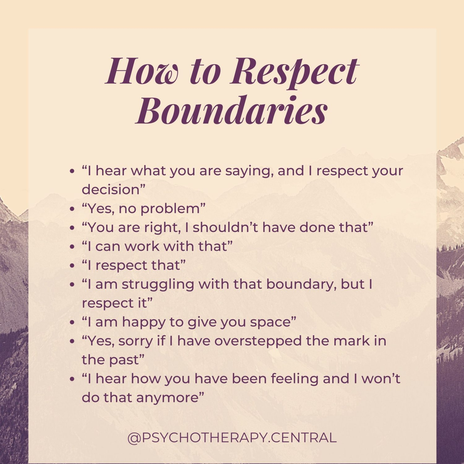 "How to Respect Boundaries ""I hear what you are saying, and I respect your decision"" ""Yes, no problem"" ""You are right, I shouldn't have done that"" ""I can work with that"" ""I respect that"" ""I am struggling with that boundary, but I respect it"" ""I am happy to give you space"" ""Yes, sorry if I have overstepped the mark in the past"" ""I hear how you have been feeling and I won't do that anymore"""