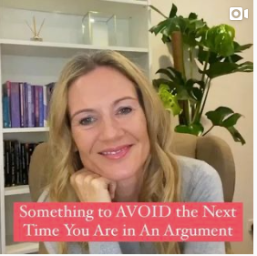 Something to AVOID the Next Time You Are in An Argument. Jenny Nurick, Psychotherapist, siting in a chair, smiling, with head resting on her hand.