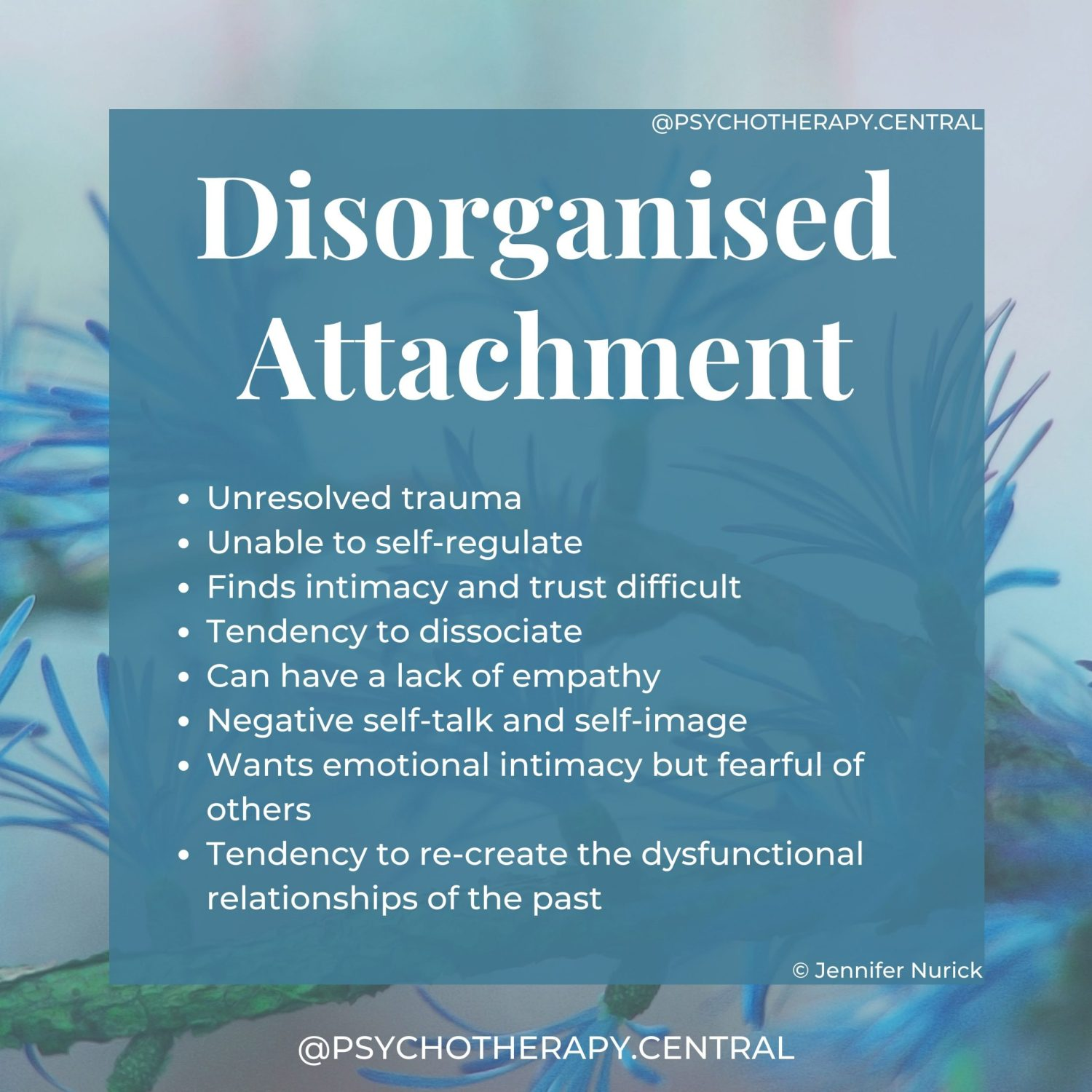 Disorganised Attachment Unresolved trauma Unable to self-regulate Finds intimacy and trust difficult Tendency to dissociate Can have a lack of empathy Negative self-talk and self-image Wants emotional intimacy but fearful of others Tendency to re-create the dysfunctional relationship of the past