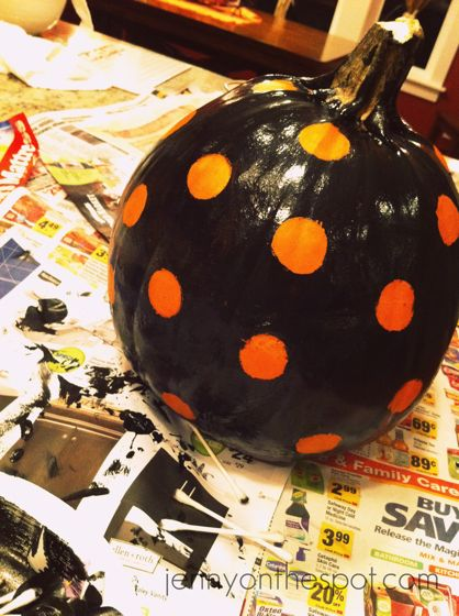 completed painted polka dot pumpkins via @jennyonthespot