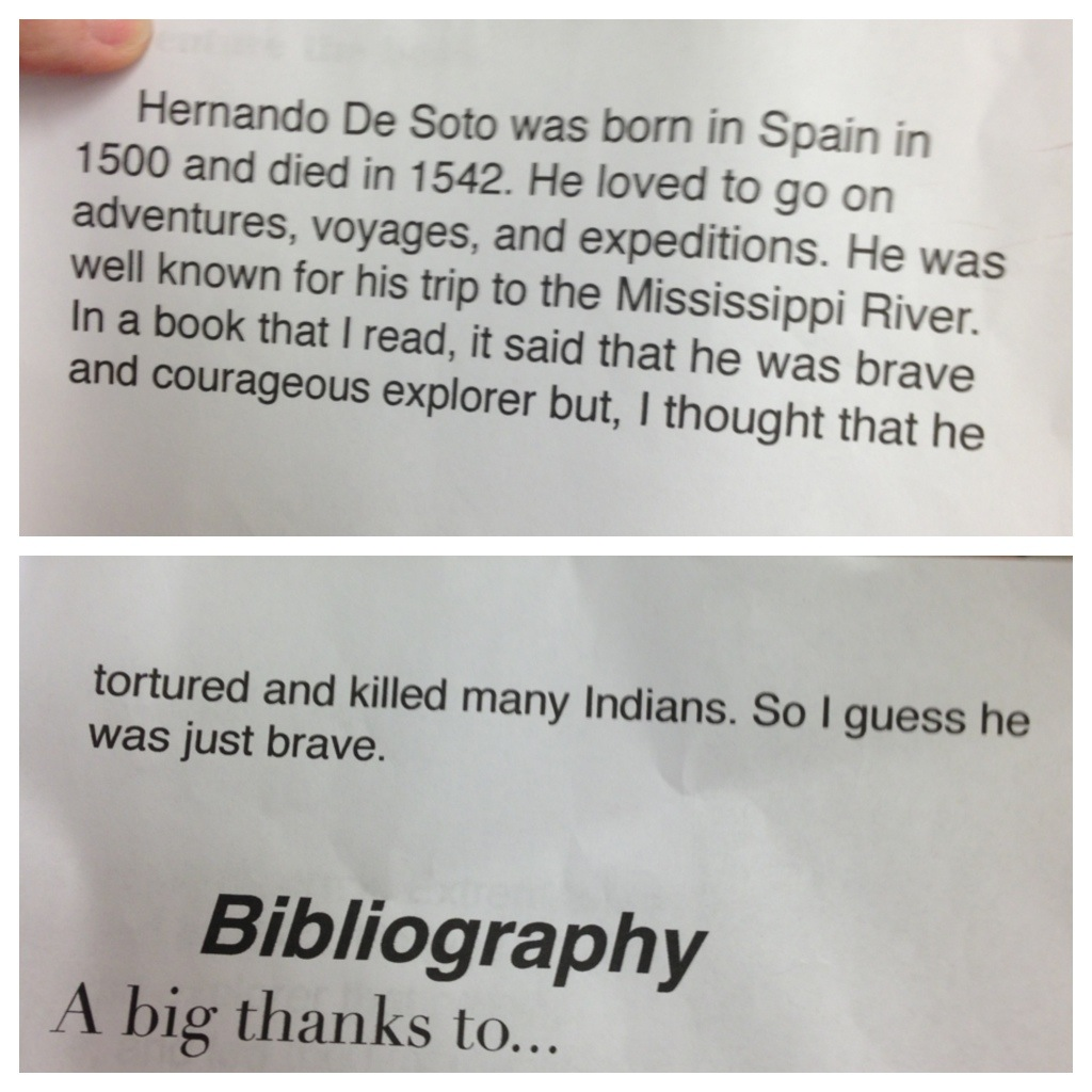In Which My Fifth Grade Daughter Calls Out Hernando De