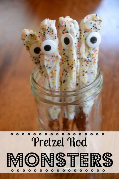 Halloween Treats: One-eyed Pretzel Rod Monsters by @jennyonthespot