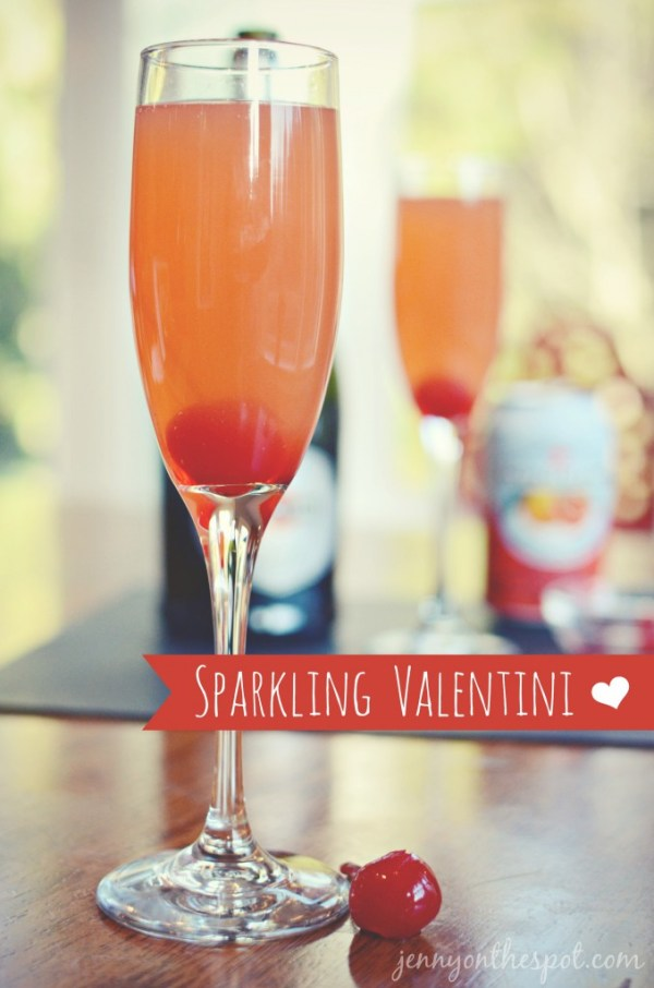 Make a delicious Valentine cocktail featuring champagne and blood-orange San Pelegrino! www.jennyonthespot.comespot