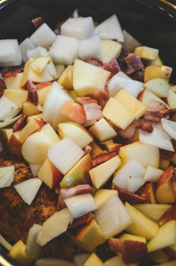 Slow Cooker Pork Sirloin Tip Roast with Apples and Bacon for #Porktober
