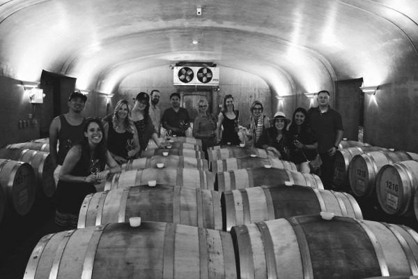 Barrel tasting with the group at Garrison Creek Cellars