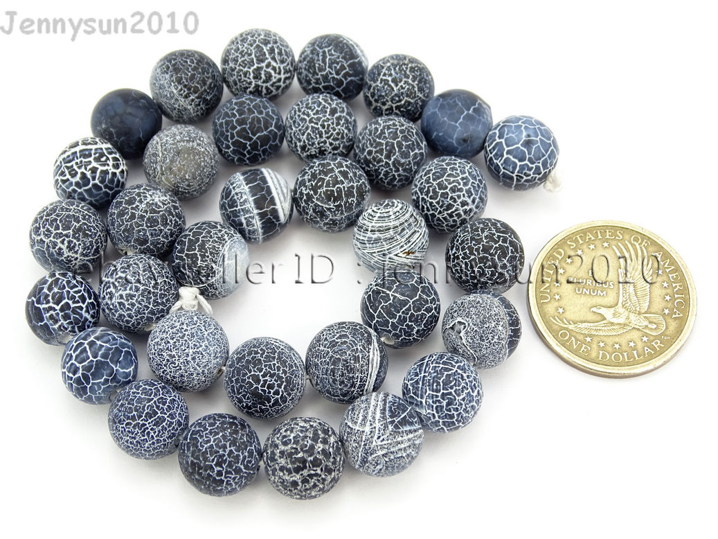 Matte Frosted Black Fire Crackle Agate Gemstones Round