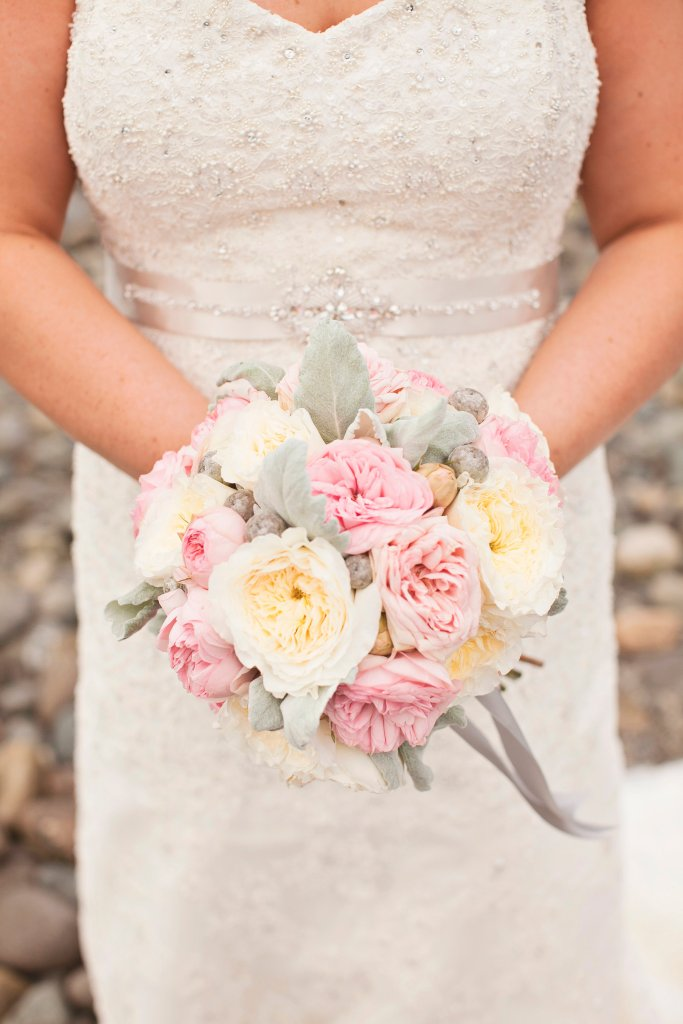 Bridal Bouquet, Garden Rose Bouquet, Pink & White Bouquet, Chambers Bay