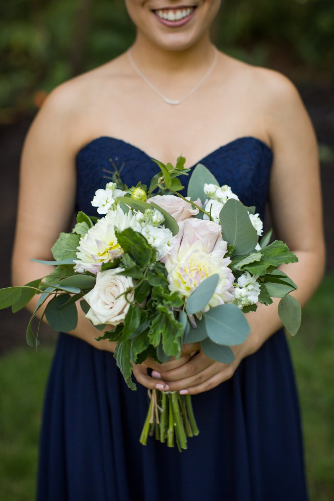 Rose and Dahlia Bouquet, Eucalyptus and Rose Bouquet, Bridesmaid Bouquet, View More: http://charbeck.pass.us/08-16-15-lee-dani