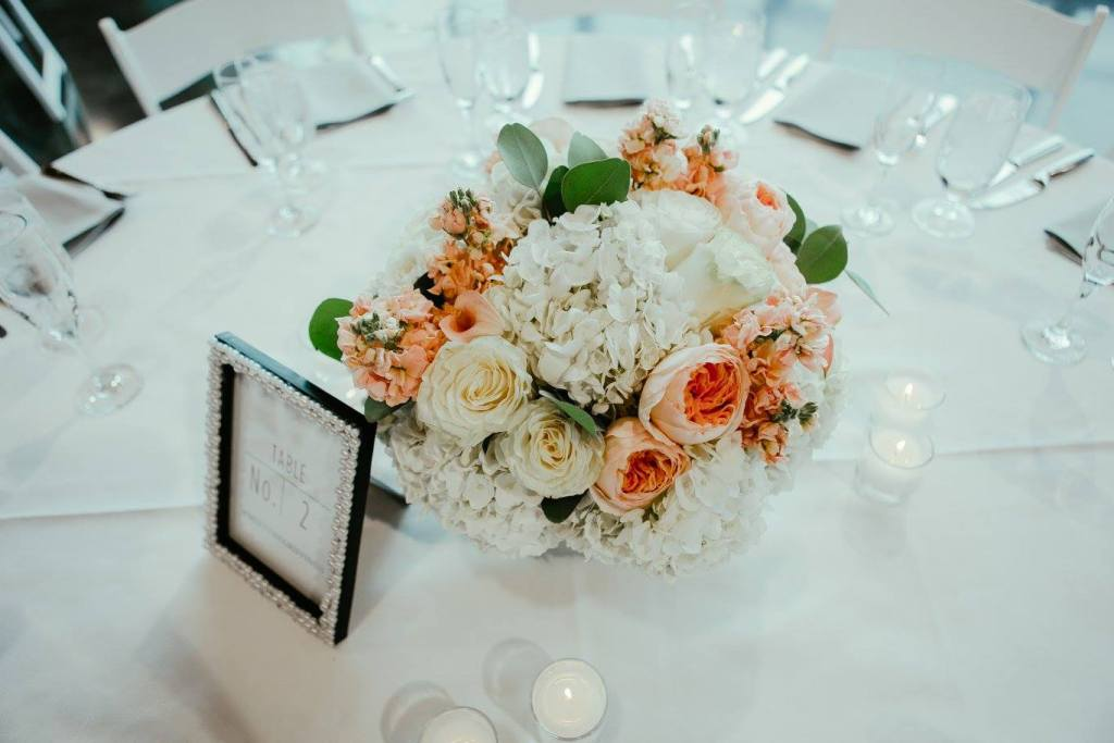 Peach and White Centerpiece, LeMay