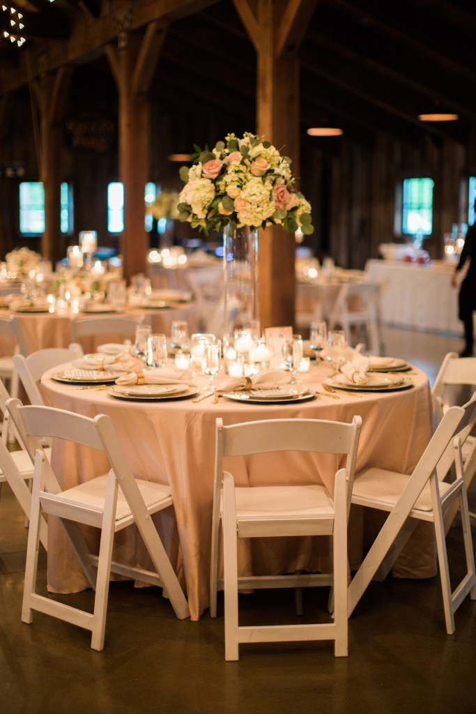 Elevated centerpiece at vintage wedding at Kelley Farm. Planning & Flowers by Jen's Blossoms