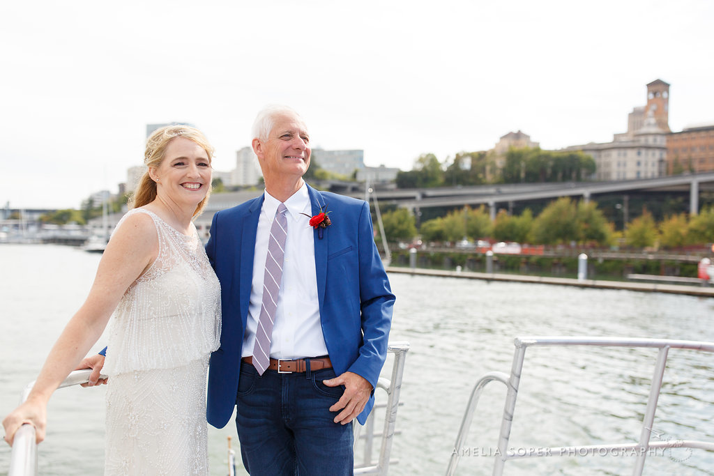 Bride and Groom on boat, Foss Waterway Seaport, Tacoma
