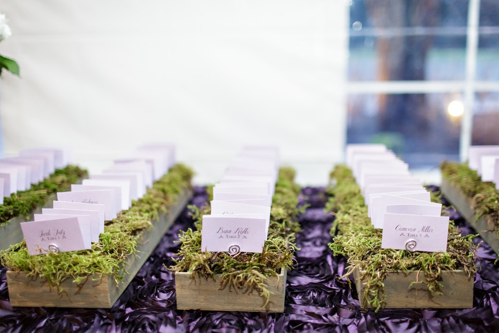 Moss lined boxes hold escort cards
