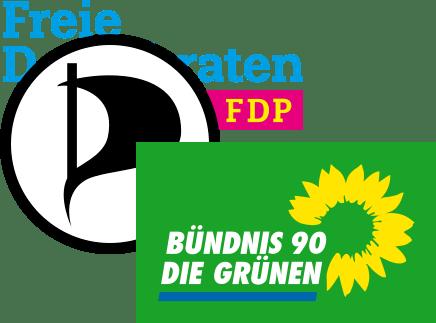 Logo FDP, Piraten, Die Grünen Parteien