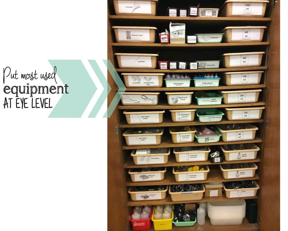 organize lab equipment eye level