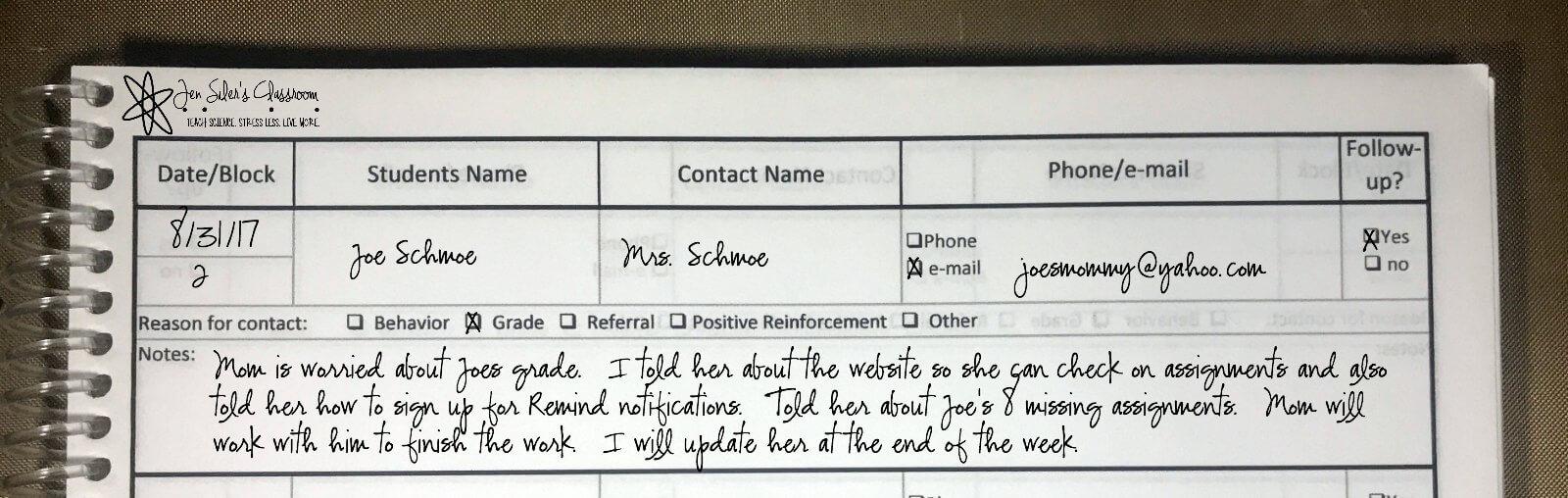 parent contact log close up