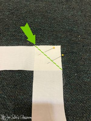 sew strip pieces together at an angle