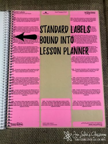 standard sticky bound into lesson planner