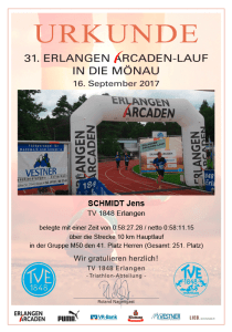 Urkunde Arcadenlauf 2017