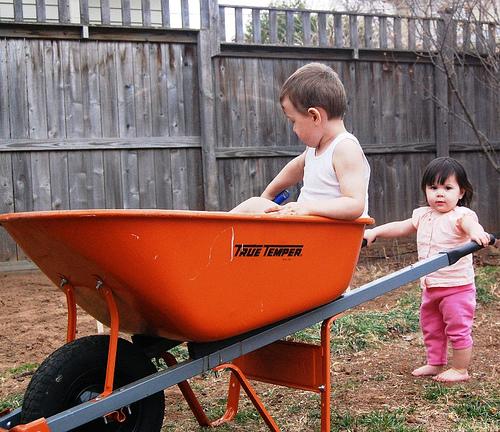Kids in a wheel barrow