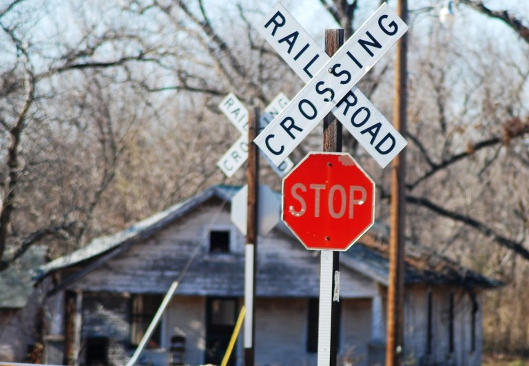 Route 66 Railroad Crossing in Luther, Oklahoma
