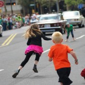 Kids running for candy