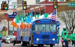 Party Galaxy's Blue Bus with Irish Flags