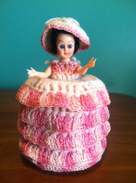 Crocheted Doll Toilet Paper Cover at Grandma's House