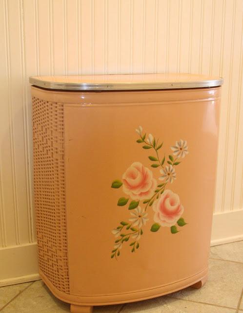Pink Vintage Hamper with flowers