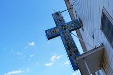 Jesus Saves Sign Blue