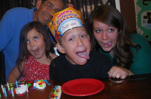 Silly faces at a Birthday Party for a Boy