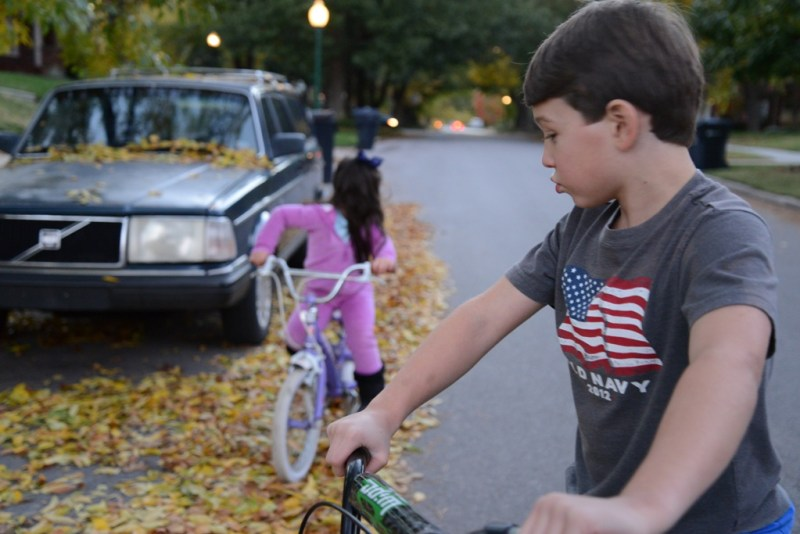 Riding bikes in fall