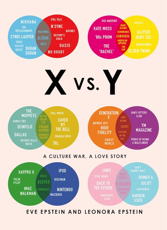 X vs Y Book Epstein: Two sisters – one from Generation X, the other from Generation Y – compare their lives through the lens of TV, music, technology, and pop culture.