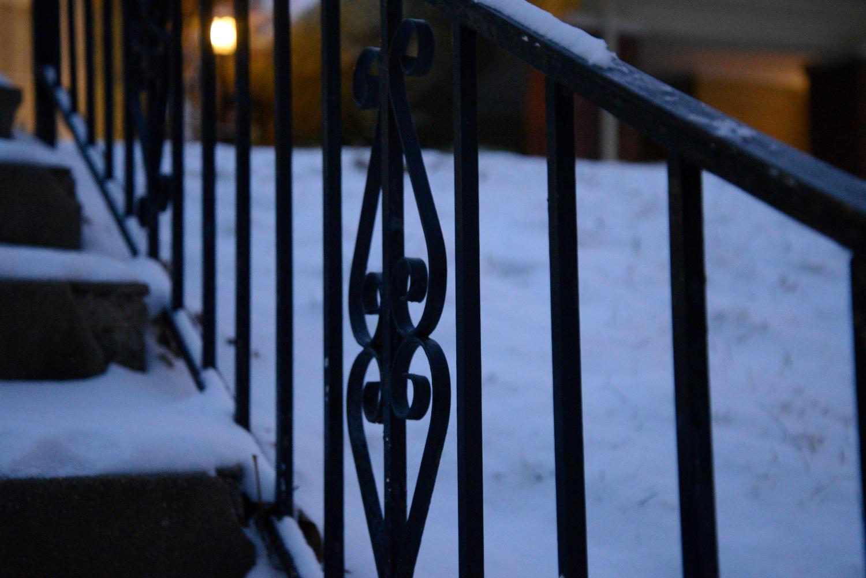 Black Stair Railing Porch Light