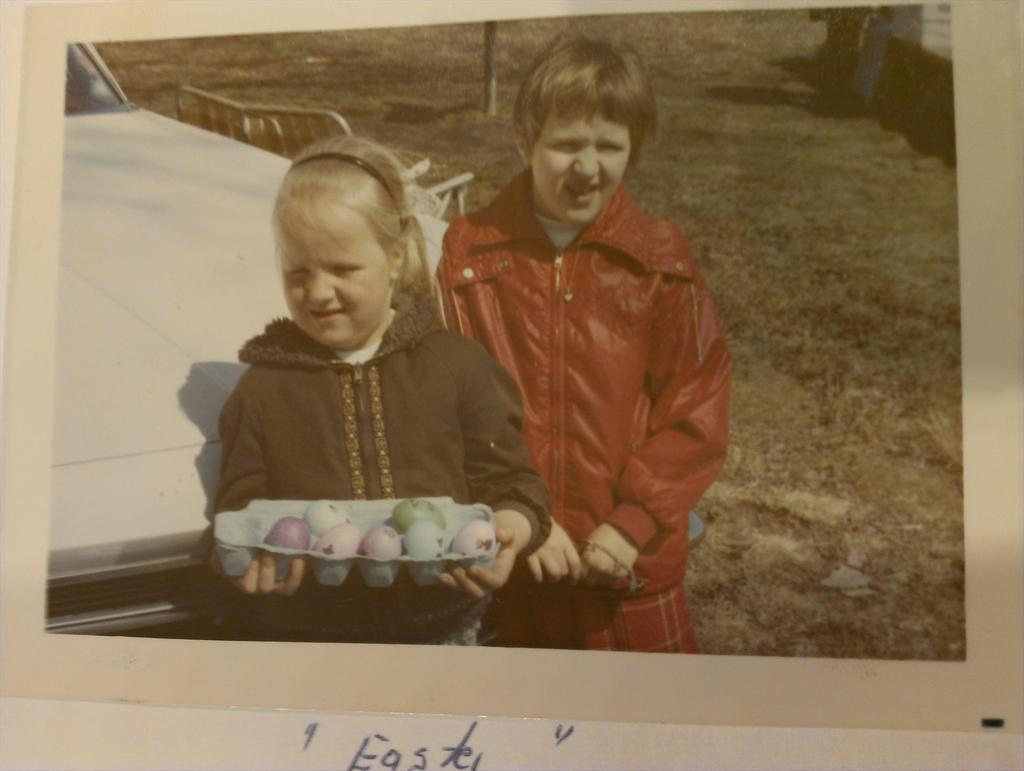 Easter 1971 with carton of dyed eggs