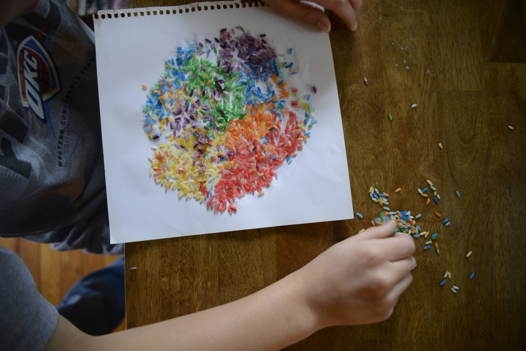 Colorful Rice Mosaic Project for Kids