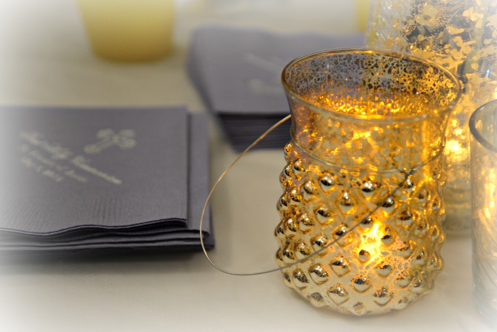 Mercury Glass and First Communion Napkins