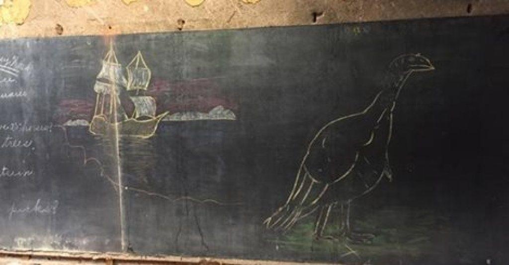 Turkey Thanksgiving drawing on 1917 School Chalkboard