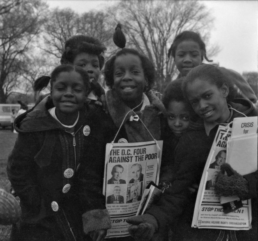 African American children, members of the 13th generation of Americans that would become known as Generation X, march in Washington D.C. on March 25, 1972.