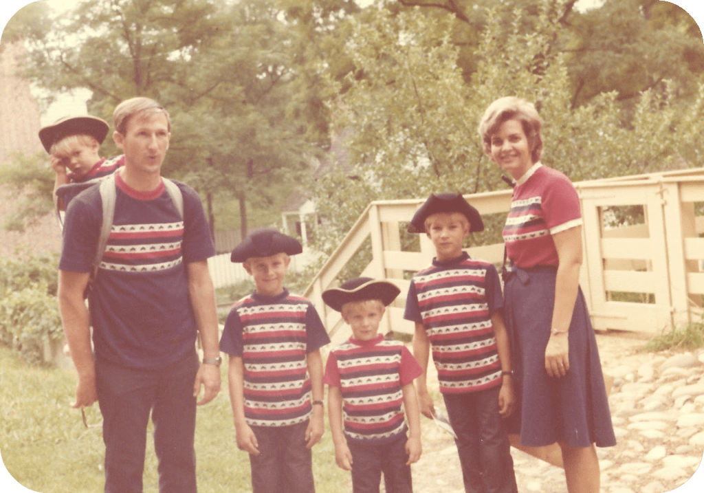 Family in 1976 all dressed alike in Bicentennial Outfits
