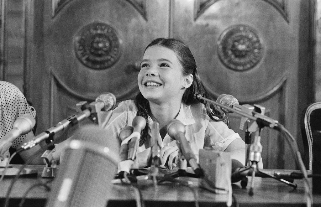 Maine schoolgirl Samantha Smith at a press conference in her luxury Moscow hotel before returning home July 21,1983 to America. (AP Photo)