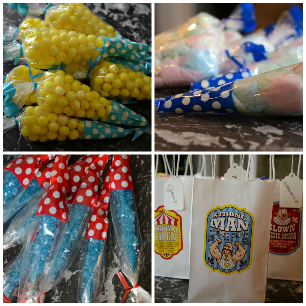 carnival party sacks rock candy cotton candy