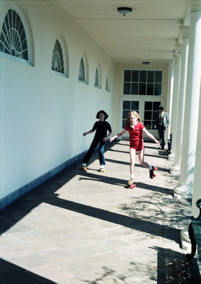 Amy Carter rollerskating at the Whitehouse