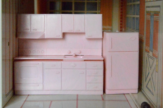 Pink Plastic Kitchen and Refrigerator Tin Doll House