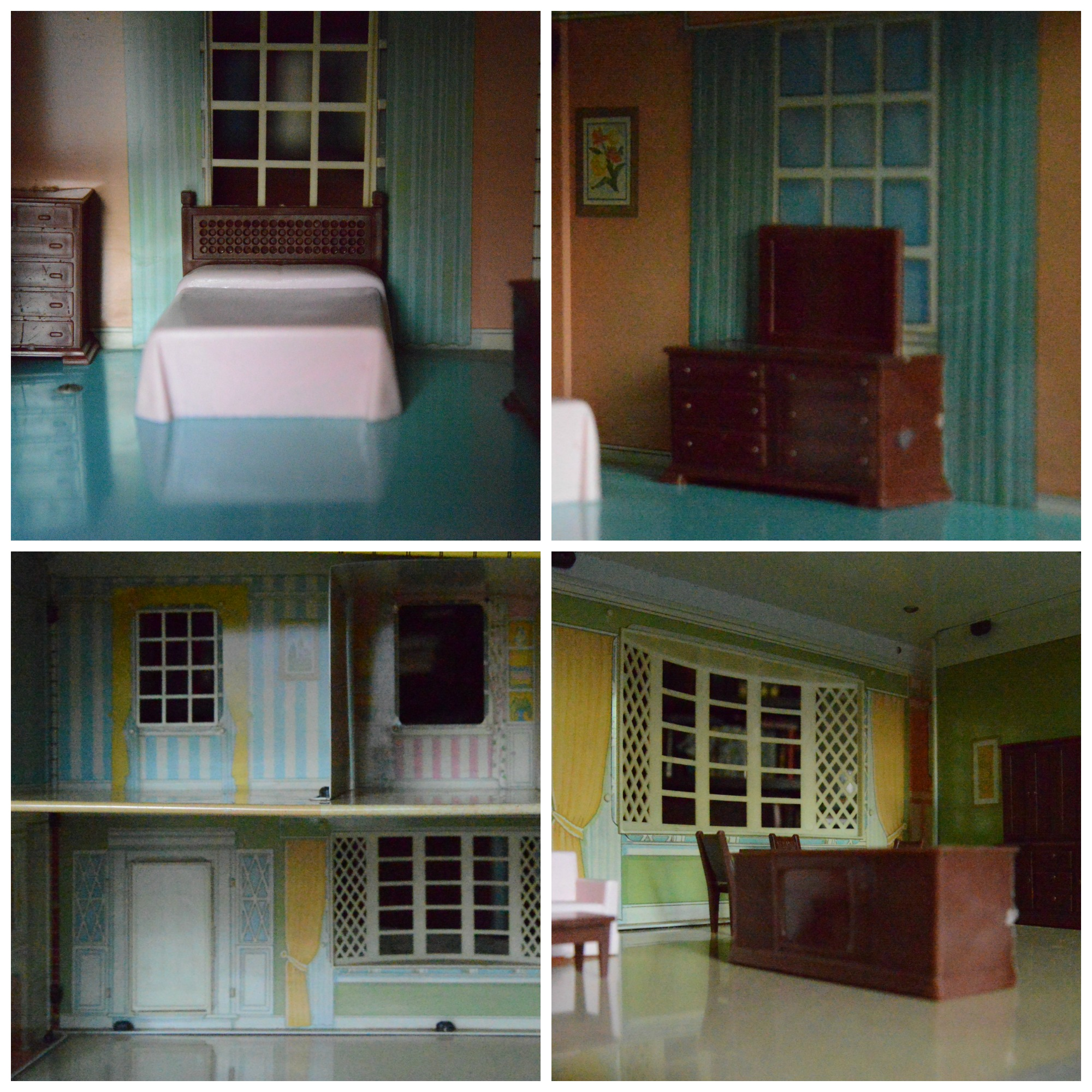 Plastic Tin Doll House Furniture Bed Dresser TV credenza