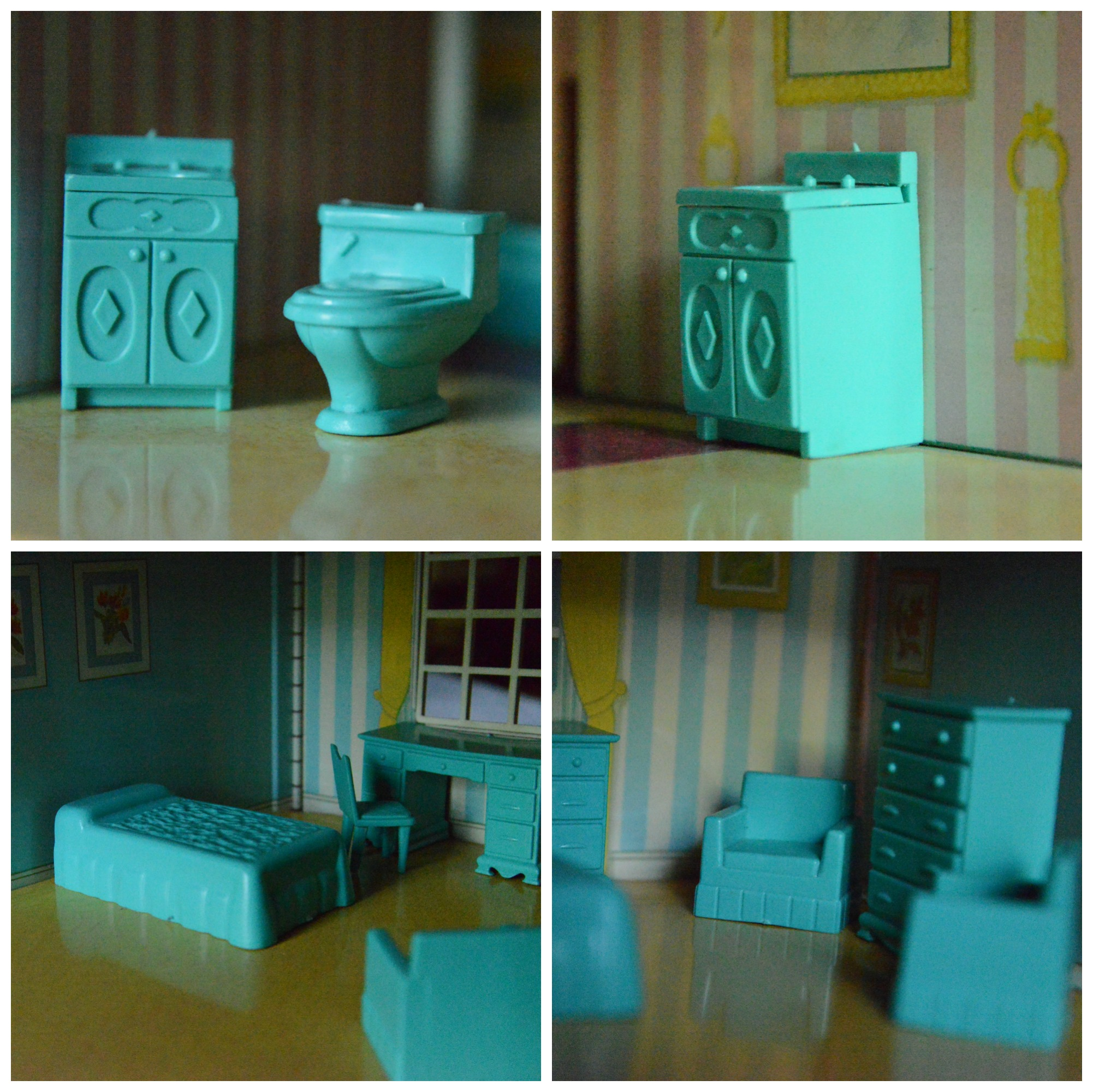 Tin Doll House Furniture Bathroom Toilet Sink in Aqua Blue